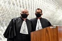 Posse dos atuais presidente e vice-presidente do STJ e do CJF, ministro Humberto Martins (dir.) e ministro Jorge Mussi (esq.), em 27 de agosto de 2020.