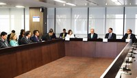 Ministra Laurita Vaz e demais autoridades reunidas na sede do TCU, em Brasília (Foto: Paulo Rosemberg/CJF)