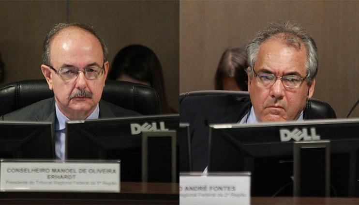 Desembargadores federais André Fontes e Manoel de Oliveira Erhardt participam de última sessão como conselheiros do CJF