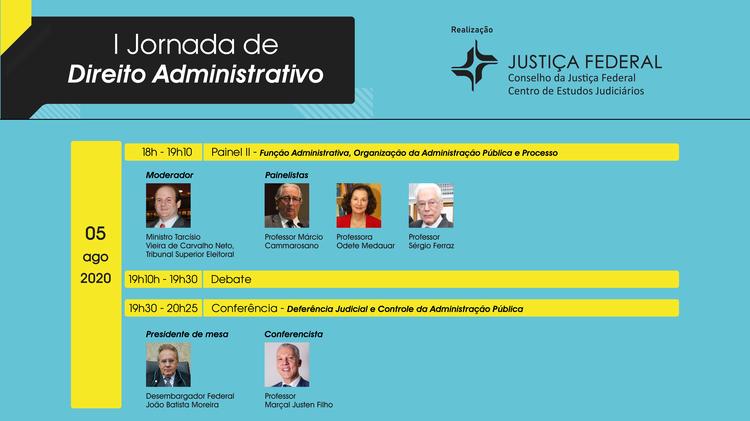 Dia 5 de agosto: CEJ convida comunidade jurídica para eventos virtuais da I Jornada de Direito Administrativo